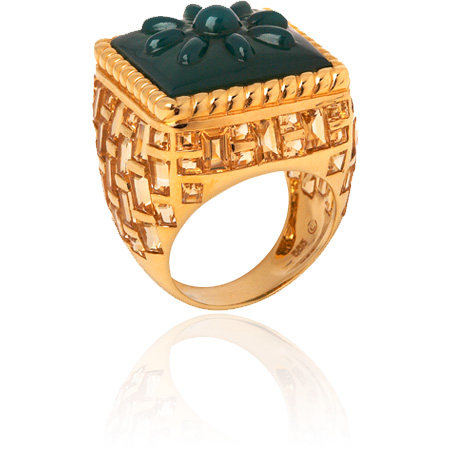 green agate and citrine basket-weave ring