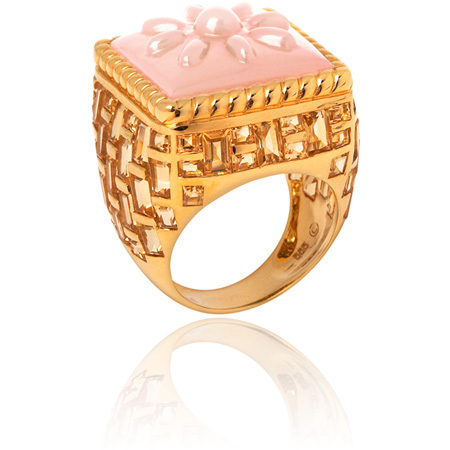 pink opal and square-cut citrines basket-weave ring