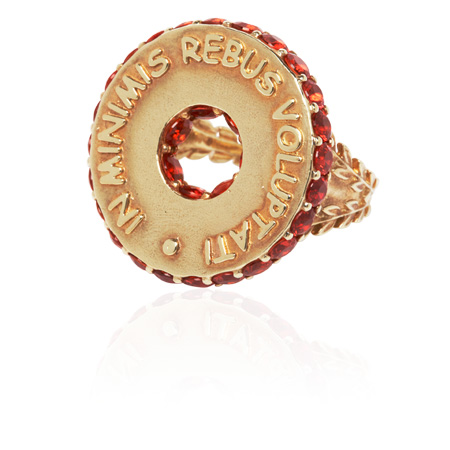 Latin Motto Disc Ring