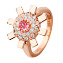 Sun Ray Ring Pink Gold, Diamonds & Pink Sapphire